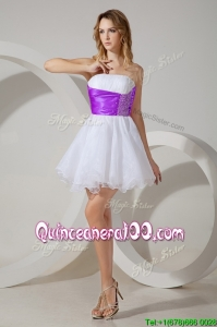 Top Selling White Short Dama Dress with Belt and Beading