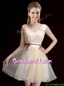 Pretty V Neck Belted and Applique Short Dama Dress in Organza