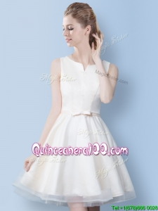 Best A Line Bowknot Off White Dama Dress in Mini Length