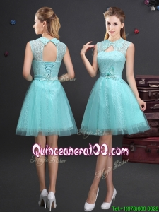 Best Turndown Aquamarine Short Dama Dress with Appliques