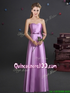 Classical Elastic Woven Satin Bowknot Dama Dress in Lilac
