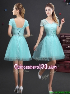 Latest V Neck Laced and Applique Dama Dress in Aquamarine
