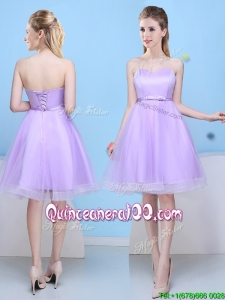 Low Price Sweetheart Lavender Short Dama Dress with Bowknot