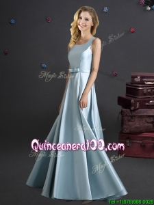 Modest Bowknot Square Long Dama Dress in Light Blue