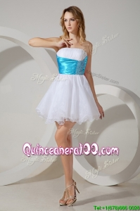 New Arrivals Strapless White Dama Dress with Belt and Beading