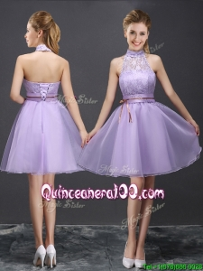 New See Through Halter Top Belted and Laced Lavender Dama Dress