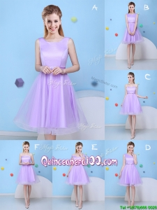 Popular Bowknot Lavender Tulle Short Dama Dress with Lace Up