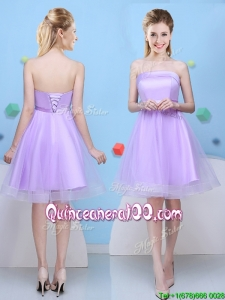 Pretty Strapless Bowknot Lavender Dama Dress with Lace Up