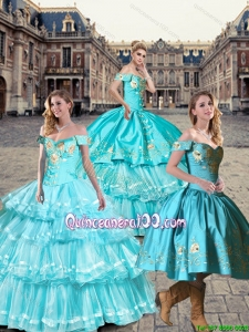 2015 Fall New Style Off the Shoulder Embroidery Quinceanera Dresses in Teal and Aqua Blue