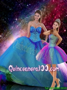 2015 Winter Romantic Ball Gown Sweetheart Beaded Detachable Quinceanera Dresses in Multi Color