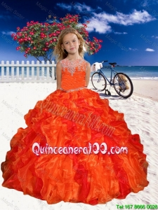 Appliques Mini Quinceanera Dresses in Orange Red with Beaded Decorate for 2016