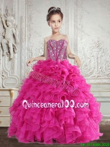Hot Selling Beading and Ruffles Mini Quinceanera Dresses in Fuchsia