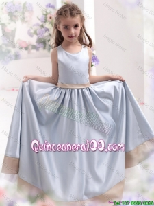 2016 Comfortable Silver Scoop Mini Quinceanera Dresses with Waistband