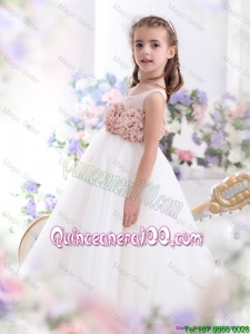 2016 Pretty Scoop Mini Quinceanera Dress with Hand Made Flowers