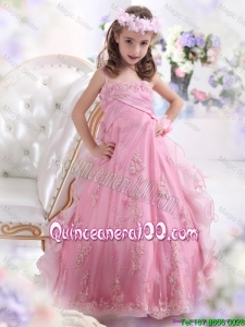 2016 Unique Rose Pink Mini Quinceanera Dresses with Appliques