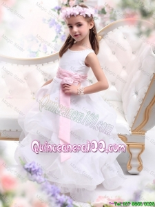 Beautiful Scoop White Mini Quinceanera Dresses with Sash and Ruffles