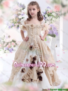 Champagne Spaghetti Straps Mini Quinceanera Dresses with Hand Made Flowers and Ruffles