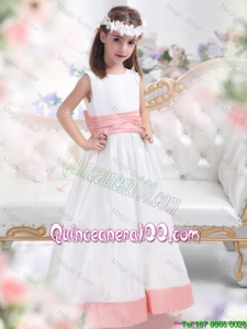 Fashionable White Scoop 2015 Mini Quinceanera Dresses with Pink Waistband
