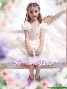 Gorgeous Champagne Mini Quinceanera Dresses with Hand Made Flower and Lace