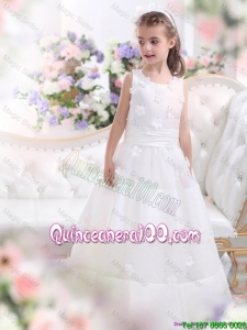 Most Popular White Scoop Mini Quinceanera Dresses with Appliques