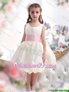 Perfect White Scoop 2016 Mini Quinceanera Dresses with Light Pink Sash