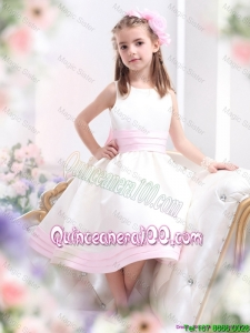 Perfect White Scoop Mini Quinceanera Dress with Bowknot for 2016