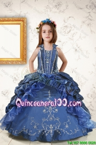2016 Affordable Appliques and Pick Ups Mini Quinceanera Dresses in Navy Blue