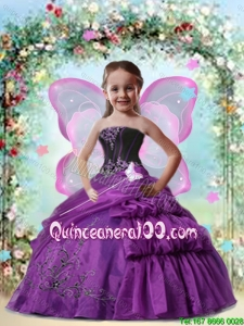 2016 Beatiful Eggplant Purple Mini Quinceanera Dressess with Appliques and Pick-ups