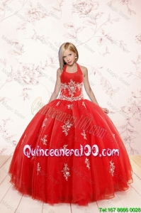 2016 Fashionable Appliques Red Mini Quinceanera Dresses