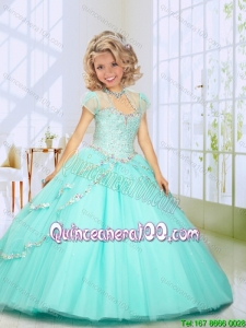 2016 Fashionable Beading Sweep Train Mini Quinceanera Dresses in Mint