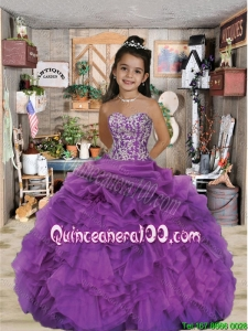 2016 Luxirious Sweetheart Appliques and Ruffles Purple Mini Quinceanera Dresses