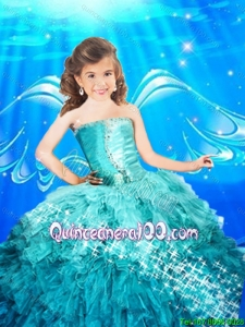 2016 Pretty Good Sweetheart Blue Mini Quinceanera Dresses with Beading and Ruffles