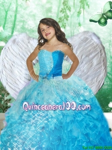 2016 Wonderful Sweetheart Blue Mini Quinceanera Dresses with Beading and Ruffles