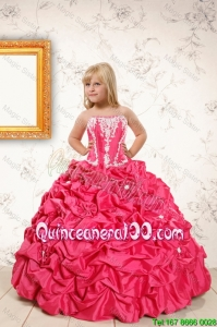 Beautiful Coral Red Mini Quinceanera Dresses with Appliques and Pick Ups