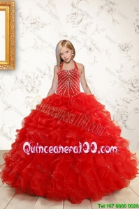 Beautiful Red Mini Quinceanera Dresses with Beading and Ruffles for 2016
