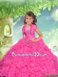 Brand New Sweetheart Hot Pink Mini Quinceanera Dresses with Beading and Ruffles for 2016