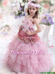 Discount Rose Pink Mini Quinceanera Dresses with Hand Made Flowers and Ruffled Layers