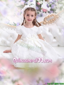 Elegant 2016 White Mini Quinceanera Dresses with Short Sleeves and Bowknot