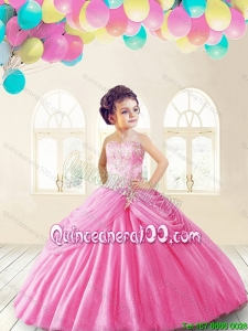 Lovely Rose Pink Mini Quinceanera Dresses with Appliques and Pick Ups for 2016