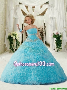 New Arrival Strapless Blue Mini Quinceanera Dresses with Appliques and Ruffles