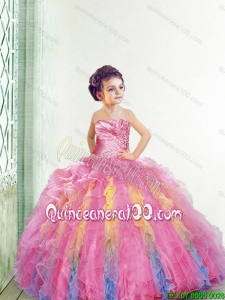 New Style Strapless Multi Color Mini Quinceanera Dresses with Appliques and Ruffles