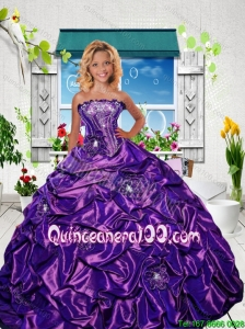 New Style Strapless Purple Mini Quinceanera Dresses with Appliques and Pick-ups