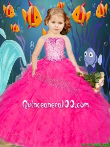 Newest Beading and Ruffles Hot Pink Mini Quinceanera Dresses