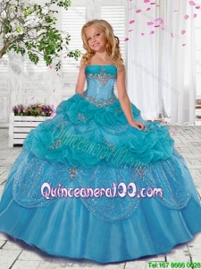 Popular Blue Mini Quinceanera Dresses with Beading and Pick Ups for 2016