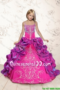 Trendy Coral Red and Purple Mini Quinceanera Dresses with Appliques and Pick Ups for 2016 Spring