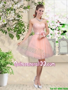 Pretty Elegant Sweetheart Baby Pink DAma Dresses with Appliques and Belt