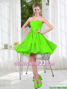 Great 2016 Summer A Line Sweetheart Dama Dresses in Spring Green