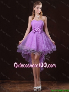 Great Pretty Strapless Bowknot Dama Dresses with High Low
