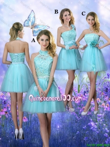 Pretty Beautiful A Line Aqua Blue Dama Dresses with Appliques