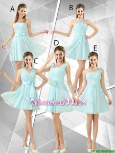 Pretty Beautiful A Line Ruched Dama Dresses in Light Blue